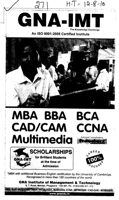 MBA BBA and BCA etc (GNA Institute of Management and Technology)