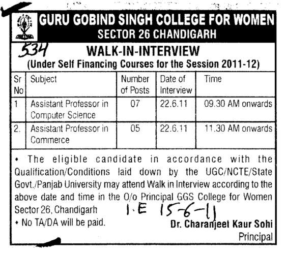 Assistant Professors in Computer Science and Commerce (Guru Gobind Singh College for Women Sector 26)