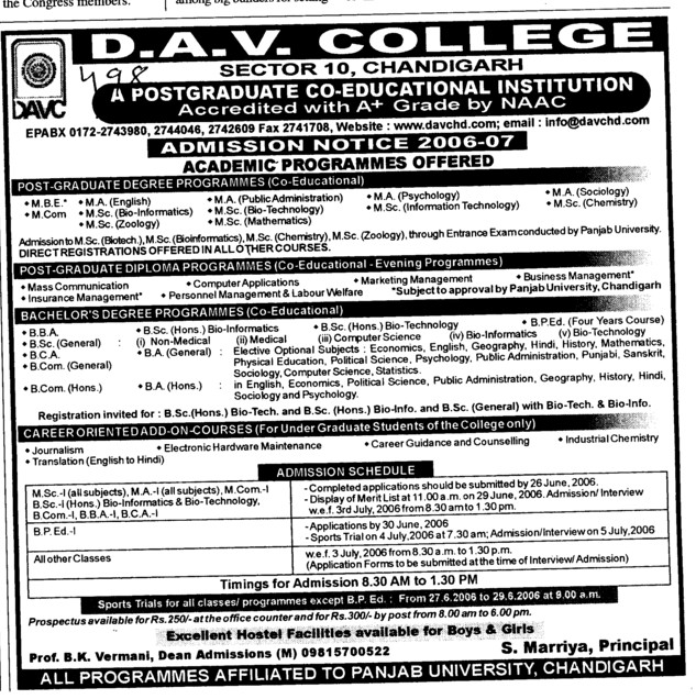 MA MSc BSc BCA MCA and BCom etc (DAV College Sector 10)
