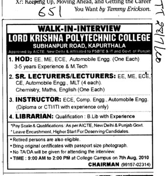 HOD Lecturers and Instructors etc (Lord Krishna Polytechnic)