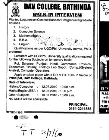 Lecturers of History Mathematics and BBA on Contractual Basis (MG DAV College)