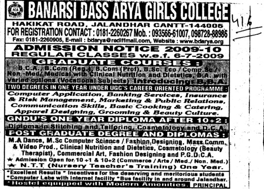 Graduate and Post Graduate Programmes (BD Arya Girls College)