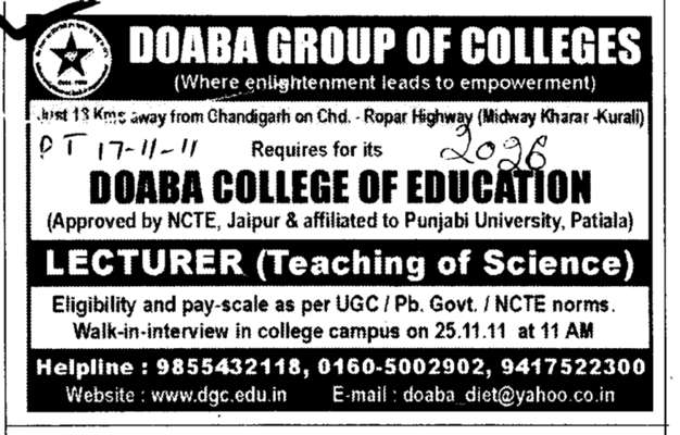 Teaching of Science (Doaba Group of Colleges (DGC))