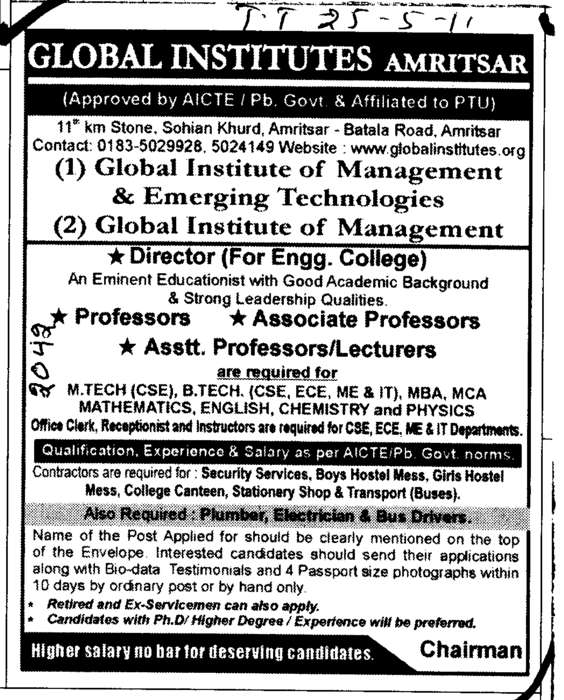 Director Associate Professors and Lecturers (Global Institutes Group)