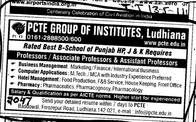 Professors Assistant Professors and Associate Professors (PCTE Group of Insitutes Baddowal)