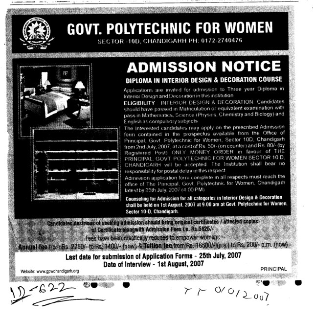 Government polytechnic for women sector 10 chandigarh for Interior decoration courses in chandigarh