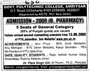 B Pharmacy and 5 seats of General Category (Government Polytechnic College Chhehrta)