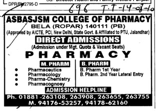 M Pharmacy and B Pharmacy (Amar Shaheed Baba Ajit Singh Jujhar Singh Memorial College of Pharmacy ASBASJSM Bela)