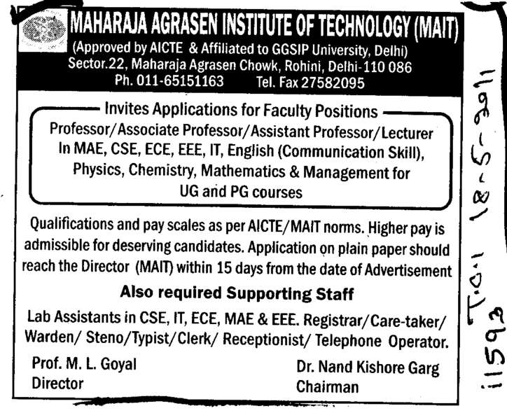Professors Assistant Professors and Associate Professors (Maharaja Agrasen Institute of Technology)