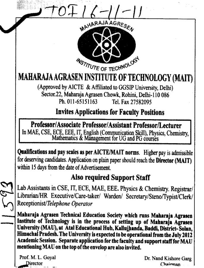 Support Staff (Maharaja Agrasen Institute of Technology)
