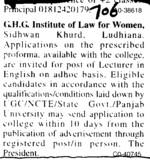 Lecturer in English on adhoc basis (GHG Institute of Law for Women Sidhwan Khurd)