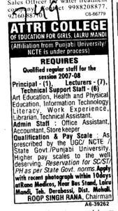 Principal Lecturer and Technical support staff (Attri College of Education for Girls)
