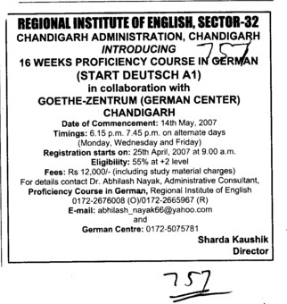 Sixteen weeks Proficiency course in German (Regional Institute of English)
