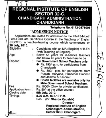 Post Graduate and Certificate course in the teaching of PGCTE (Regional Institute of English)
