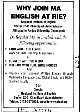 Why join MA English at RIE (Regional Institute of English)