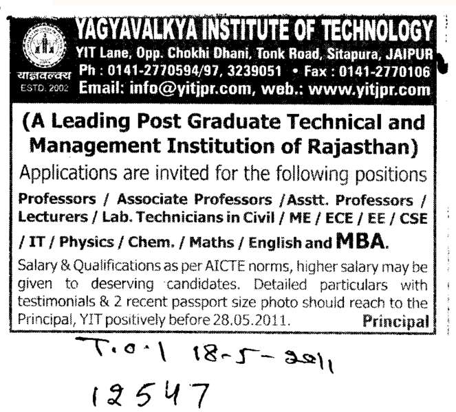 Professors Assistant Professors and Associate Professors (Yagyavalkya Institute of Technology (YIT) Sitapura)