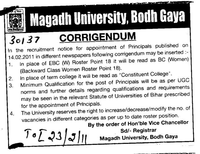 Corrrigendum (Magadh University)