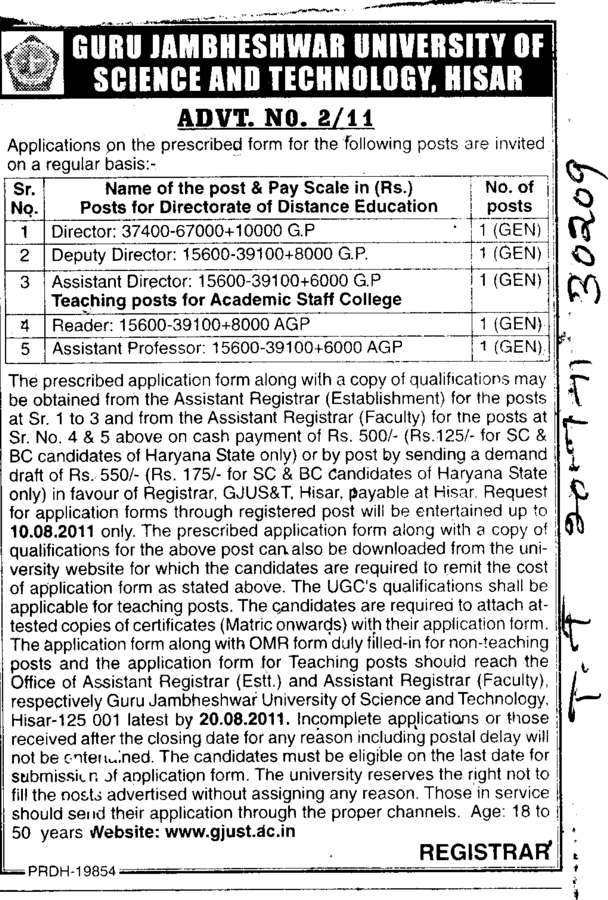 Director and Deputy Director etc (Guru Jambheshwar University of Science and Technology (GJUST))
