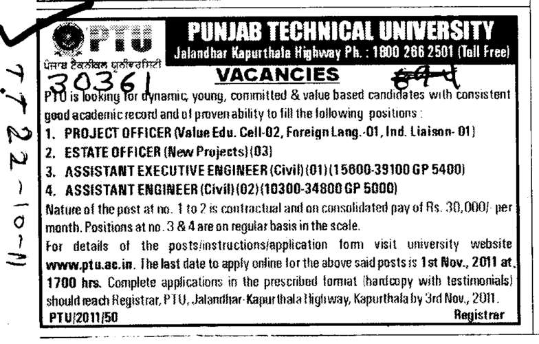 Project Officer and Estate Officer etc (Punjab Technical University PTU)