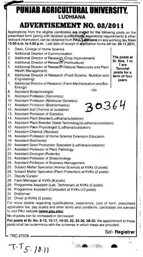 Assistant Proffessor in Rodents and Biotechnology etc (Punjab Agricultural University PAU)