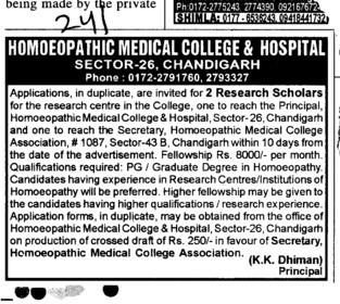 Two Research Scholarships (Homoeopathic Medical College and Hospital Sector 26)