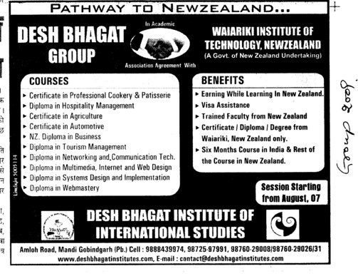 Diploma inTourism Management Webmastry and Certificate in Agriculture etc (Desh Bhagat Group of Institutes)
