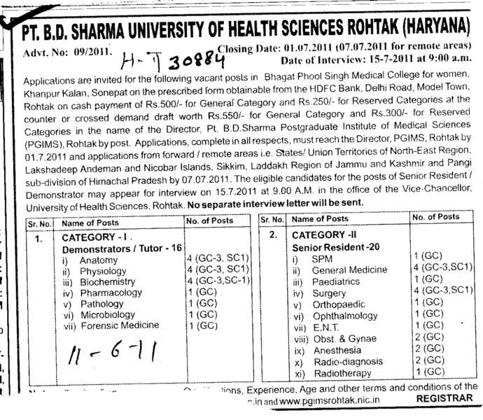 Technical Staff (Pt BD Sharma University of Health Sciences (BDSUHS))