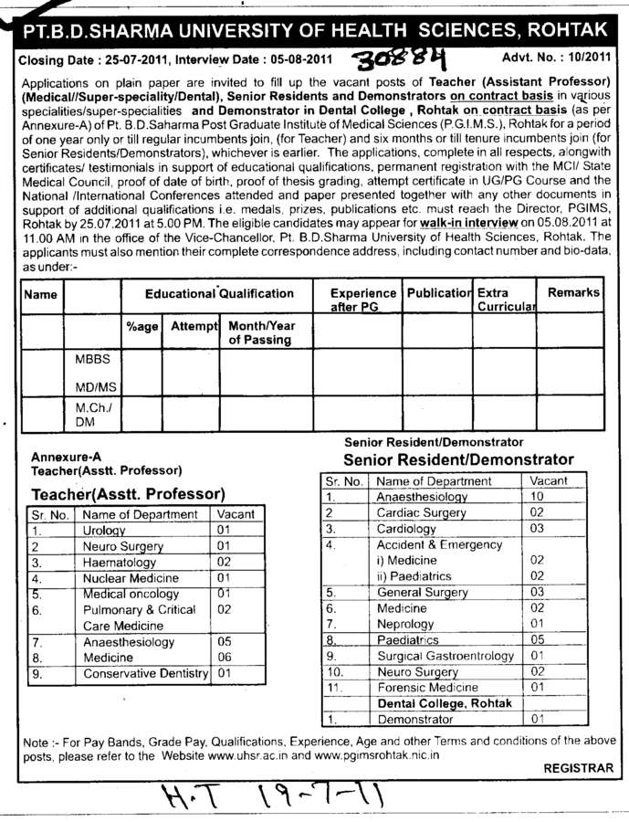 Senior Resident (Pt BD Sharma University of Health Sciences (BDSUHS))