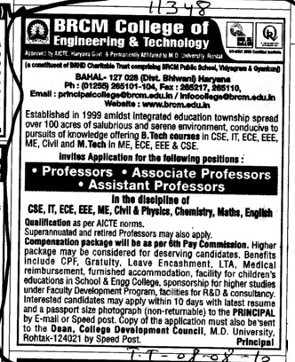 Proffesor Assistant Proffesor and Associate Proffesor (BRCM College of Engineering and Technology Bahal)