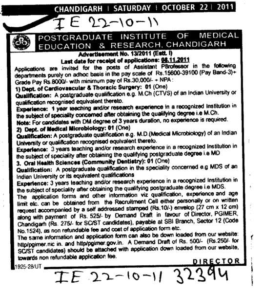 Assistant Professors in Post Graduate (PGIMER Dental College)
