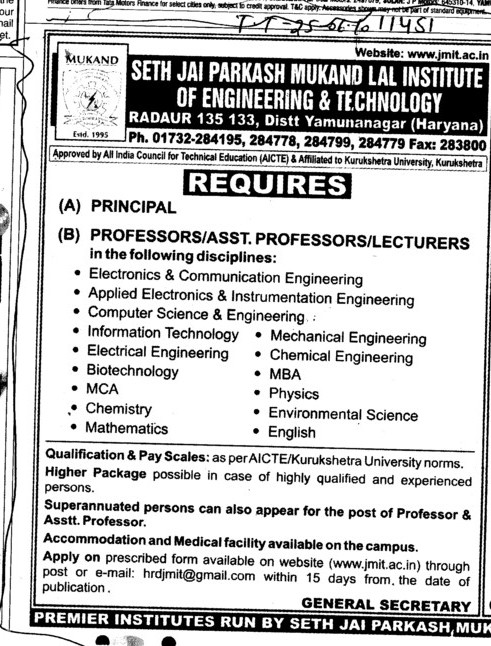 Principal Proffesors Assistant Proffessors and Associate Proffessors (Seth Jai Parkash Mukand Lal Institute of Engineering and Technology (JMIT))