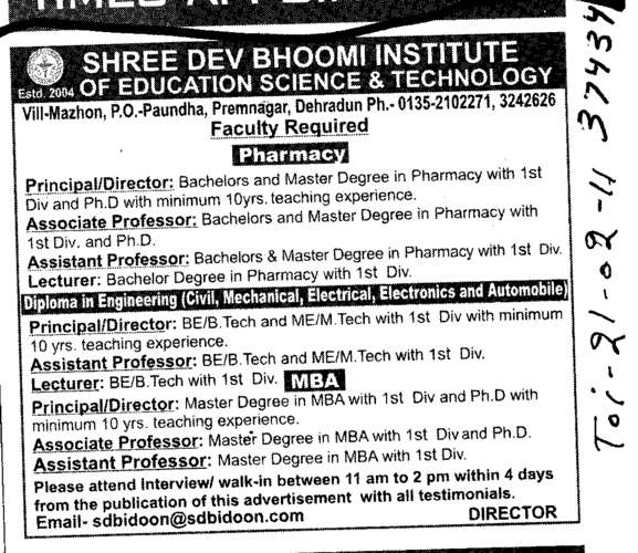 Professors Assistant Professors and Associate Professors in Pharmacy (Shree Dev Bhoomi Institute of Education Science and Technology)