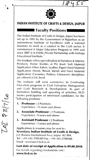 Proffesor Assistant Proffesor and Associate Proffesor (Indian Institute of Craft and Design)