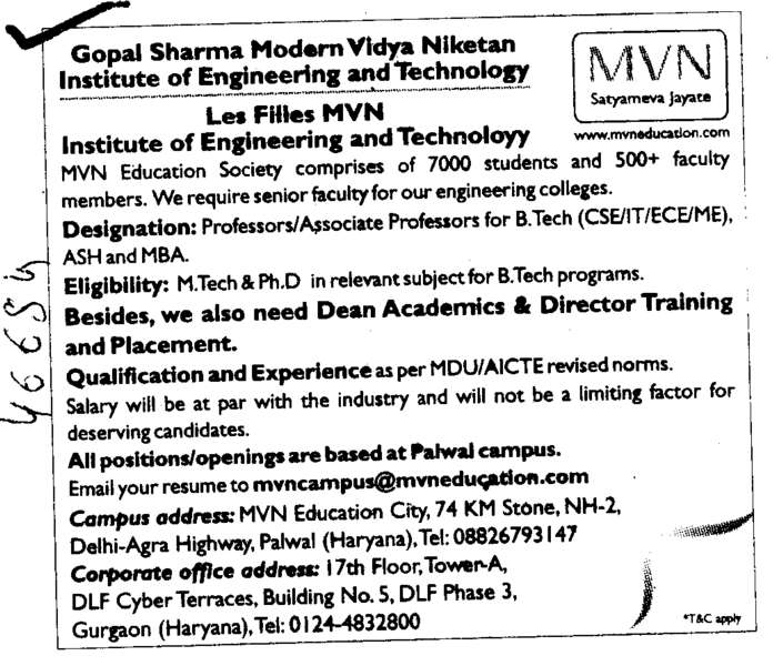 Professors Assistant Professors and Associate Professors in M Tech (Gopal Sharma Modern Vidya Niketan Institute of Engineering and Technology)