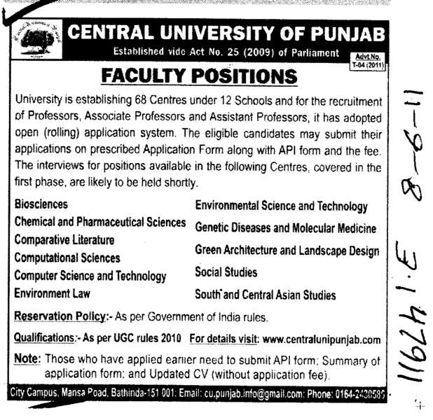 Professors Assistant Professors and Associate Professors in Bioscience (Central University of Punjab)