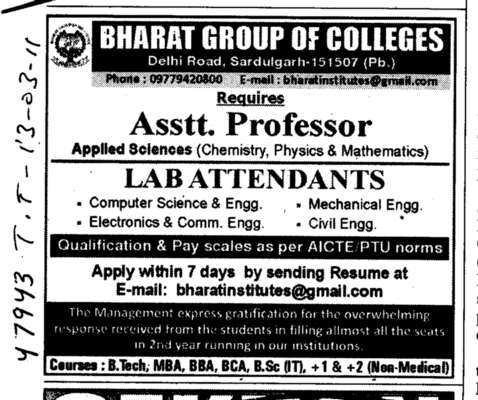 Assistant Professors and Lab Attendant (Bharat Group of Institutions)