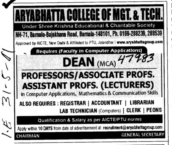 Professors Assistant Professors and Associate Professors in Computer Application (Aryabhatta College of Engineering Jodhpur Cheema)