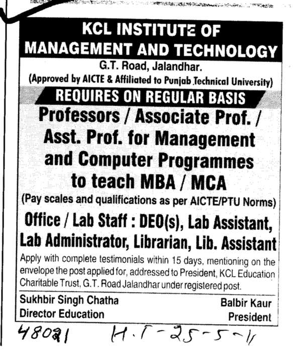 Professors Assistant Professors and Associate Professors in Computer Programme (KCL Institute of Management and Technology)