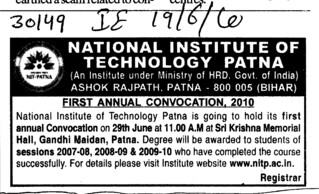 First Annual Convocation (National Institute of Technology NIT)