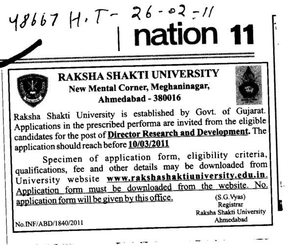 Director Research and Development (Raksha Shakti University)