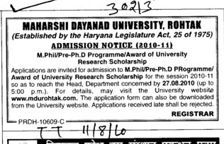 M Phill and Pre PhD Programmes (Maharshi Dayanand University)