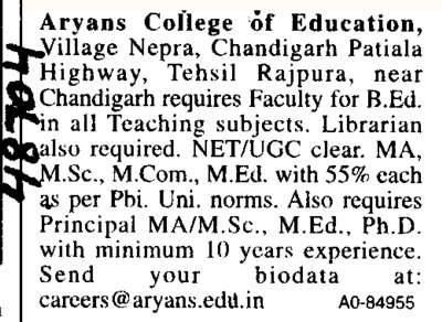 Librarian of Post (Aryans College of Education)