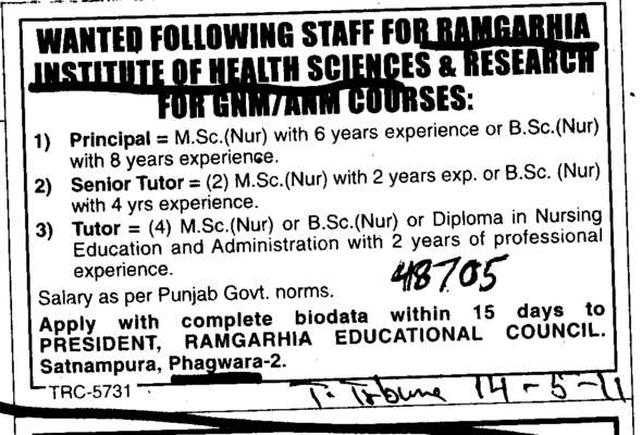 Principal and Senior Tutor (Ramgarhia Institute of Health Sciences And Research)