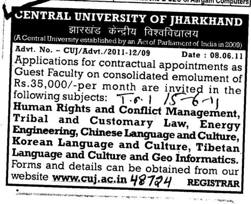 Lecturer on Regular Basis (Central University of Jharkhand)