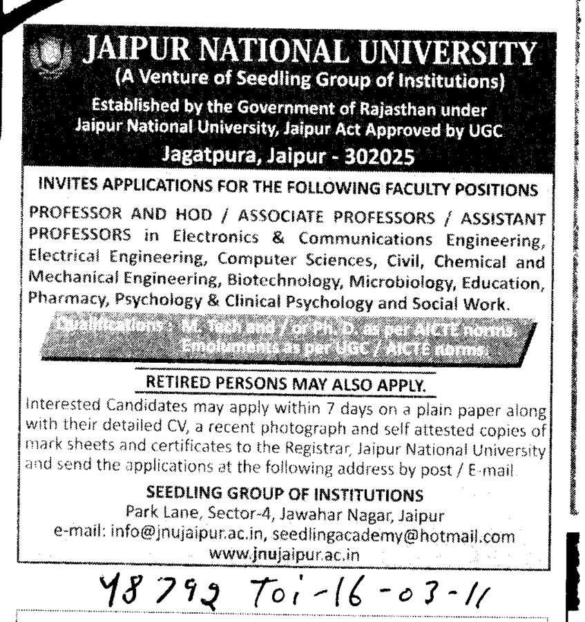 Professors Assistant Professors and Associate Professors in M Tech (Jaipur National University)