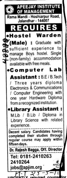 Hostel Warden and Computer Lab Assistant (Apeejay Institute of Management)