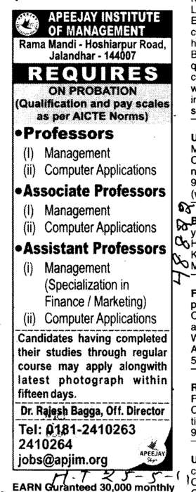 Professors Assistant Professors and Associate Professors in Computer Application (Apeejay Institute of Management)