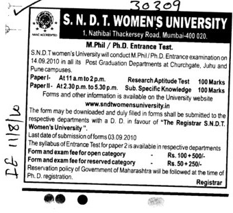 M Phill and PhD Programmes (SNDT Women University)