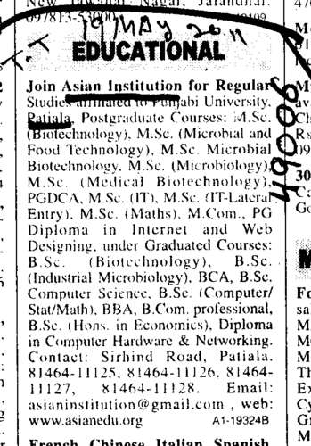 Post Graduate Courses (Asian Institution)
