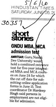 MBA and MCA Programmes (Guru Nanak Dev University (GNDU))